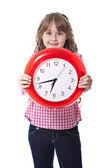 Ragazza carina con orologio — Foto Stock