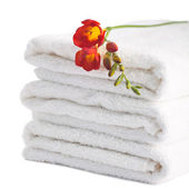 Stack of white soft towels — Stock Photo