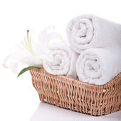 Towels with lilly — Stock Photo