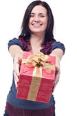 Cheerful women with a present — Stock Photo