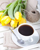 's ochtends koffie beker — Stockfoto