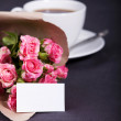 Bouquet of pink small roses papered — Foto de Stock