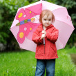 Adorable toddler girl at rainy day in autumn — Stockfoto #13724901