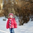 Little girl having fun at winter — Stock Photo