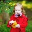 Little girl in bright red coat at autumn — Stock Photo #13724968