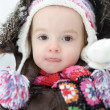 Adorable toddler girl having fun at winter — Stock Photo #13725114