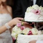 花嫁および新郎のケーキカット — ストック写真