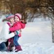 Young mother and her daughter at winter — Stock Photo