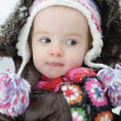 Adorable toddler girl having fun at winter — Stock Photo #13725309
