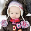 Adorable toddler girl having fun at winter — Stock Photo #13725594