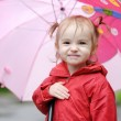 Adorable toddler girl at rainy day in autumn — Stock Photo #13725728