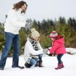família feliz num dia de inverno — Foto Stock