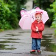 Adorable toddler girl at rainy day in autumn — Stock Photo #13726120