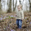 Little toddler girl at spring — Stock Photo