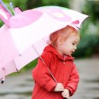 Adorable girl at rainy day in autumn — Stock Photo #13726415