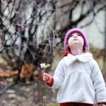 Adorable toddler having fun on autumn day — Stock Photo #13726423