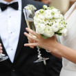 Bride and groom holding champagne glasses — Stock Photo #13726467