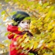 Adorable toddler in an autumn park — Stock Photo