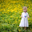 Adorable girl standing in dandelions field — Stock Photo