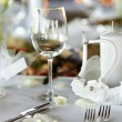 Empty place card on the festive table — Stock Photo