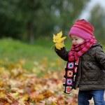 Little baby in an autumn park — Stock Photo