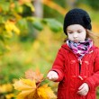Little girl in bright red coat at autumn — Stock Photo #13727427