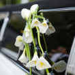 Black and white wedding limo — Stock Photo