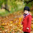 Little girl in bright red coat at autumn — Stock Photo #13727498