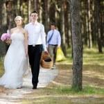 Bride and groom having a walk — Stock Photo #13727677