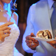 Bride and groom eating cake - Stock Photo