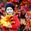 Little girl in bright red coat at autumn — Stock Photo #13728136