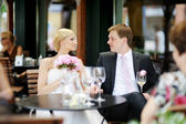 Bride and groom toasting — Stock Photo