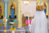 Bride in an orthodox church — Stok fotoğraf