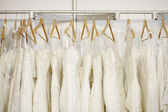 A few beautiful wedding dresses — Stock Photo
