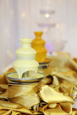 Delicious white chocolate fondue fountain — Stock Photo