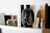 Vase closeup in decorated living room — Stock Photo