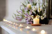 Row of small candles — Stock fotografie