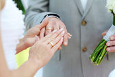 Bride and groom's hands with wedding rings — Stock Photo