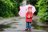 Adorable toddler girl at rainy day in autumn — Stock Photo