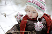 Little baby girl at winter — Stock Photo