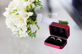 Two wedding rings in nice box — Stock Photo