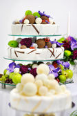 Delicious funny wedding cake — Stock Photo