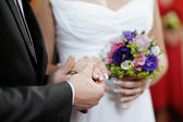 Groom holding bride's hand — Stock Photo