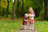 Two sisters on beautiful autumn day — Stock Photo