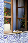 Old shoes on the portuguese window — Stock Photo