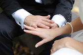 Bride and groom's hands with the wedding rings — Stock Photo