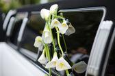 Black and white wedding limo — Stock Photo