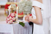 Bride during the wedding ceremony — Stock Photo