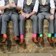 Colorful socks of groomsmen — Stock Photo #43447885