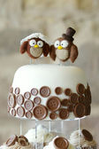 Decorative owls on top of a wedding cake — Stock Photo